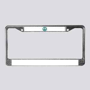 Teal Peace Sign License Plate Frame