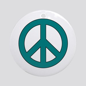 Teal Peace Sign Ornament (Round)