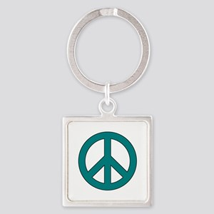 Teal Peace Sign Keychains
