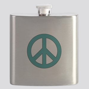 Teal Peace Sign Flask