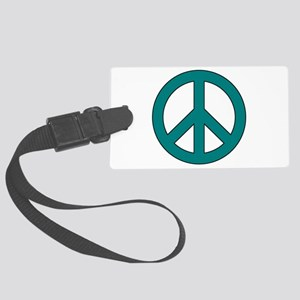 Teal Peace Sign Luggage Tag