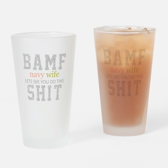 BAMF Navy Wife Drinking Glass