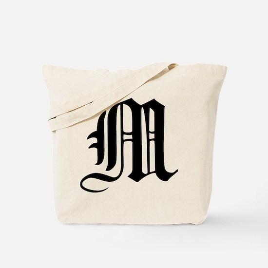 Gothic Initial M Tote Bag