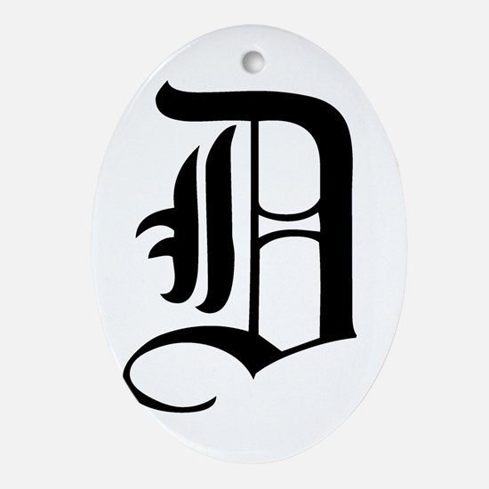 Gothic Initial D Ornament (Oval)