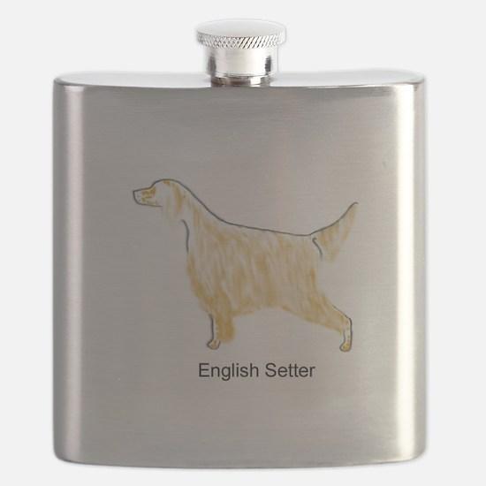 Orange Belton English Setter Flask