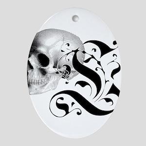 Gothic Skull Initial L Ornament (Oval)