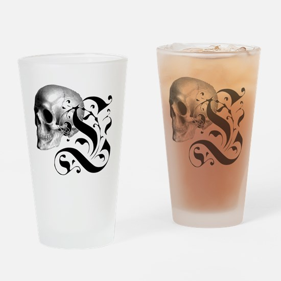 Gothic Skull Initial L Drinking Glass