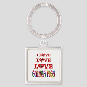 Love Love Guinea Pigs Square Keychain