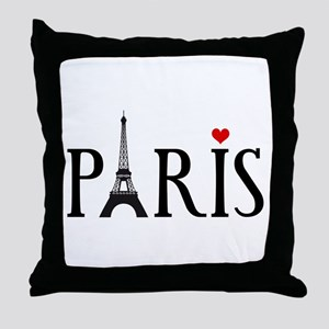 Paris with Eiffel tower and red heart Throw Pillow