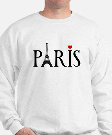 Paris with Eiffel tower and red heart Sweatshirt