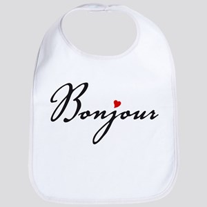 Bonjour with red heart Bib