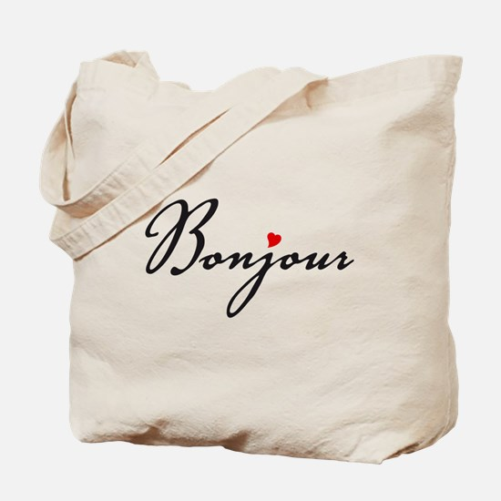Bonjour with red heart Tote Bag