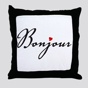 Bonjour with red heart Throw Pillow