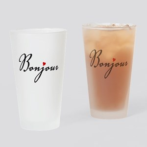Bonjour with red heart Drinking Glass