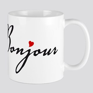 Bonjour with red heart Mug