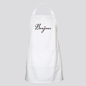Bonjour with red heart Apron