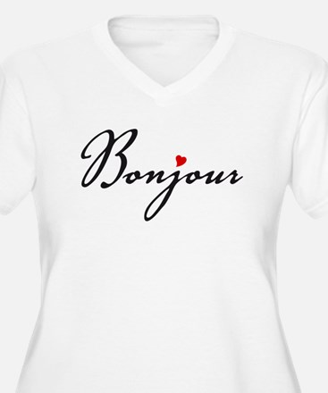 Bonjour with red heart Plus Size T-Shirt