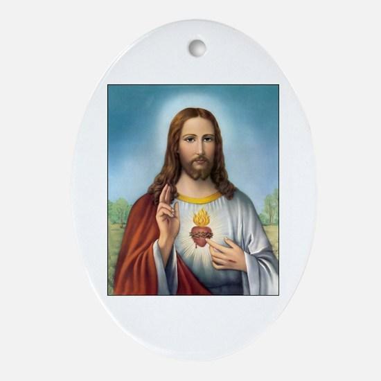 Sacred Heart of Jesus Oval Ornament