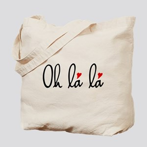 Oh la la, French word art with red hearts Tote Bag