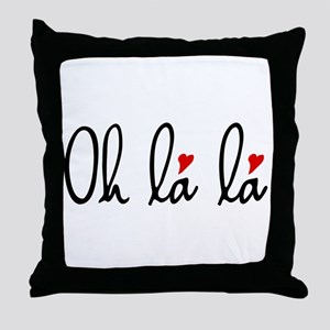 Oh la la, French word art with red hearts Throw Pi