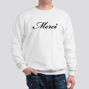 Merci, French word art with red heart Sweatshirt