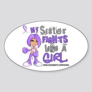 Fights Like a Girl 42.9 H Lymphoma Sticker (Oval)