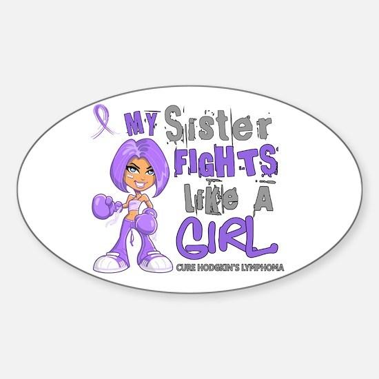 Fights Like a Girl 42.9 H Lymphoma Sticker (Oval)