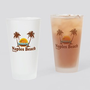 Naples Beach - Palm Trees Design. Drinking Glass