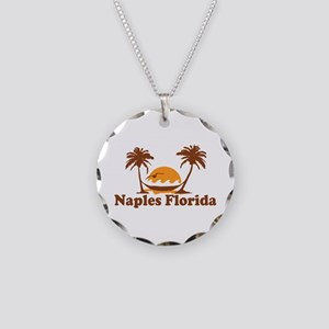 Naples FL - Palm Trees Design. Necklace Circle Cha