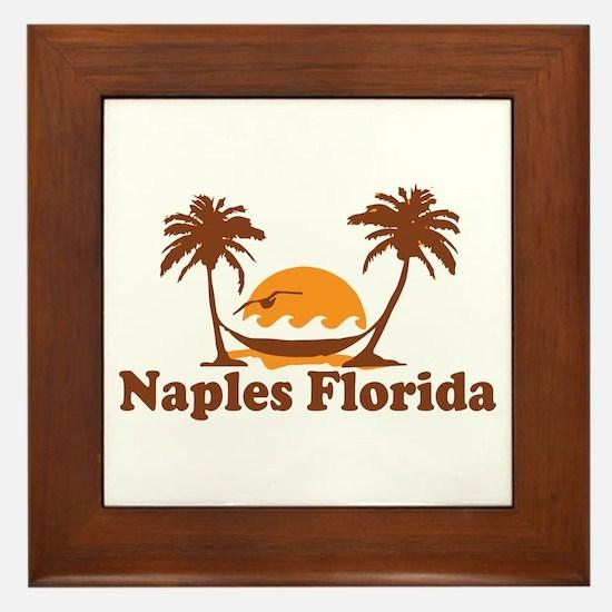 Naples FL - Palm Trees Design. Framed Tile