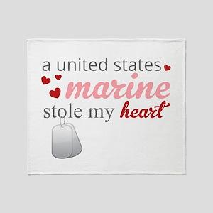 A U.S. Marine Stole my Heart Throw Blanket