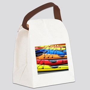Colorful Kayak Canvas Lunch Bag