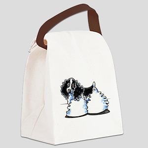 Black White Parti Cocker Canvas Lunch Bag