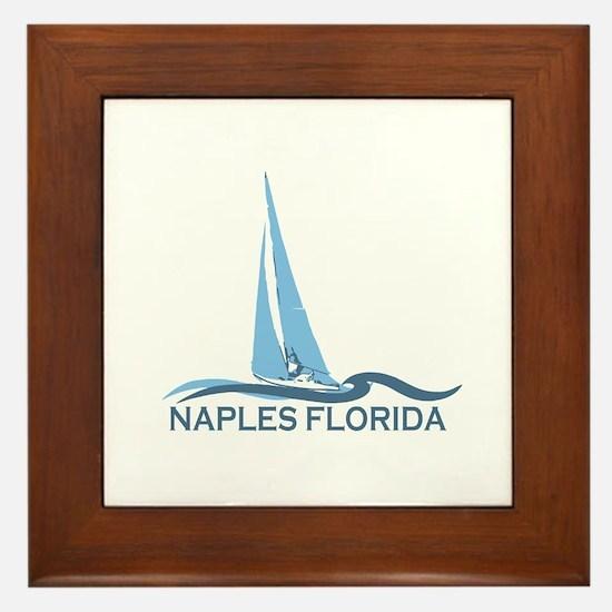 Naples Beach - Sailing Design. Framed Tile