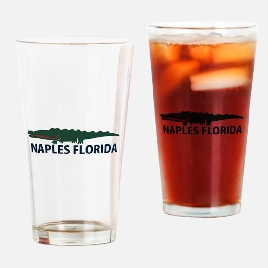 Naples Fl - Alligator Design. Drinking Glass