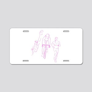 Triathlon Woman Aluminum License Plate