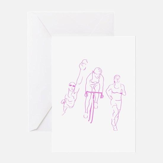 Triathlon Woman Greeting Card
