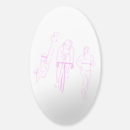 Triathlon Woman Sticker (Oval)