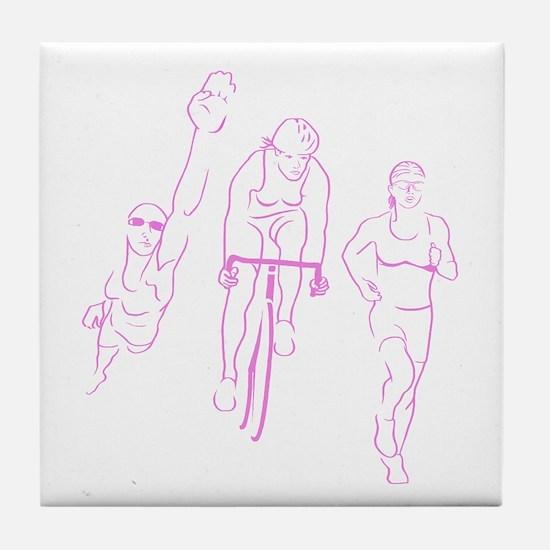 Triathlon Woman Tile Coaster