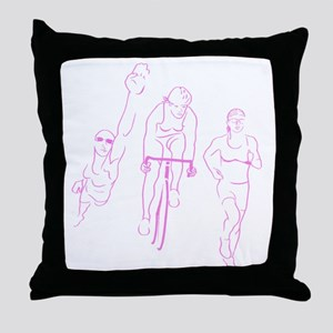 Triathlon Woman Throw Pillow
