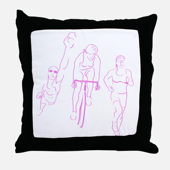 Triathlon Woman Throw Pillow