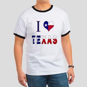 I (Heart) Love Texas Flag Ringer T