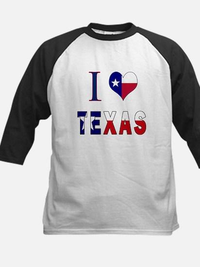 I (Heart) Love Texas Flag Kids Baseball Jersey
