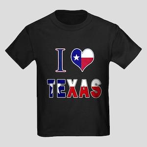 I (Heart) Love Texas Flag Kids Dark T-Shirt