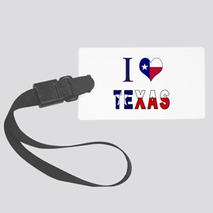 I (Heart) Love Texas Flag Large Luggage Tag