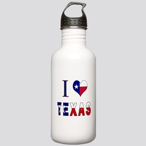 I (Heart) Love Texas Flag Stainless Water Bottle 1