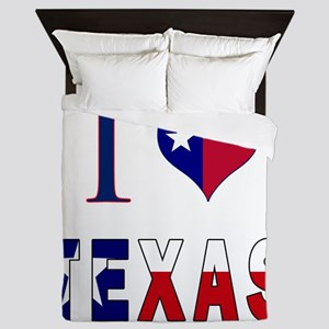 I (Heart) Love Texas Flag Queen Duvet