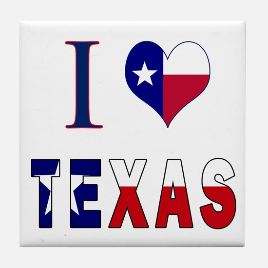 I (Heart) Love Texas Flag Tile Coaster
