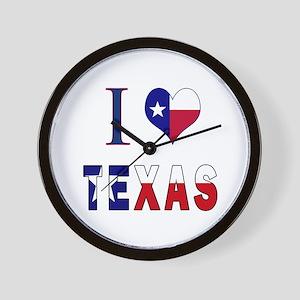 I (Heart) Love Texas Flag Wall Clock