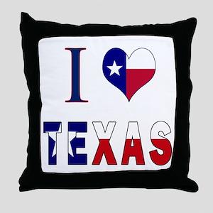 I (Heart) Love Texas Flag Throw Pillow
